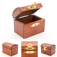 Wholesale Dolls House Miniatures Treasure Chest Vintage Leather Case Box Wooden Miniature Doll House Accessory Wooden Toys For Kids