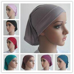 Wholesale Muslim Underscarf Plain Color Hats Islamic Tube Inner Hat Cap Islam Bandana Kerchief Women Turban Headbands Babushka Under Scarf