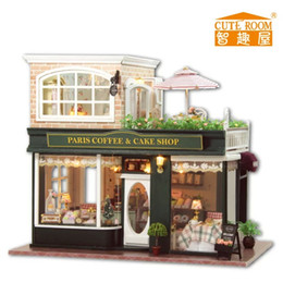 Wholesale Paris coffee amp cake shop France style Large DIY Doll house D Miniature LED light Music box Wood Handmade kits Building model