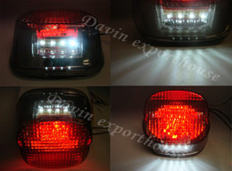 Wholesale-NEW High quality Smoke lens LED light tail brake Harley motorcycle stop lamp XL FLH FX