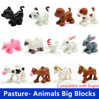 Wholesale Retail Big Building Blocks Pasture Animals Sheep Rabbit Dog Horse Pig Cat Cock Cow Compatible with Duplo Baby Educational Toys
