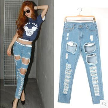 2017 Women'S Vintage Boyfriend Slouchy Big Ripped Destroyed Washed ...
