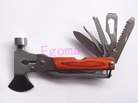 Wholesale Multi functional Folding Axe Hammer Plier Rescue knife Military Hunting Knife Tool Camping Axe Hiking Saw Knife S1059