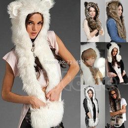 Wholesale J35 Animal Warm Faux Fur Hat Winter Fluffy Plush Cap Hood Scarf Shawl Glove Dint New