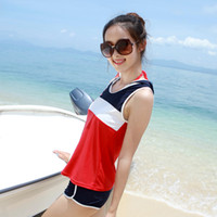 Wholesale new casual sports conservative flat angle Toby Gini small chest gather swimsuit split a family of four