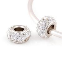 Wholesale mm Rhinestone Beads Round Chamilia DIY Spacer European Murano Troll Czech Bead Charm Fit For bracelet pandora silver BE0423