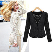 american apparel cardigans - ZA new Spring coat Europe and American apparel women s lace lace small hollow women s lace cardigan jackets are female coat