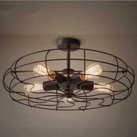 industrial material - Loft American personality lamp vintage Fan Ceiling lights Iron Material With E27 Edison light bulbs