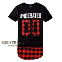 Cheap Wholesale-Mens t shirts fashion 2015 Red plaid Underated 00 Tyga gold Oversized hba extended Short sleeve swag top tee bape true religious