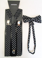 Cheap Wholesale-Free Shipping 2015 New Fashion Women Black Polka Dot Printed Bow Tie And Braces Sets For Ladies