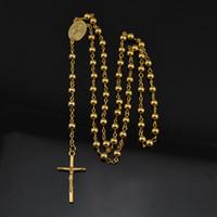 al por mayor católicos al por mayor rosario-Al por mayor-NUEVO católica de oro colgante de la cruz de la diosa 18k plateado de moda largo collar del rosario CR027 para menswomen 6mm perlas de la moda