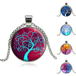 Wholesale-Wholesale Vintage Life tree pendant necklace glass cabochon silver statement chain Necklace Jewelry for Women