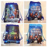 Wholesale high quality super hero Avengers spiderman drawstring beam port Non woven children school bags for boys kids Backpack