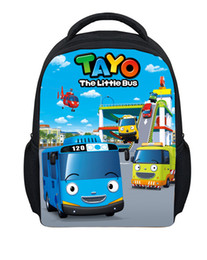Wholesale-New Fashion Tayo Cartoon Little Bus Backpack Boys Girls Small School Bag Kindergarne Baby Backpacks Child's Gifts Kids Mochila