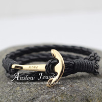 Wholesale LOW0142LB Fashion Jewelry Men s Bracelet PU Leather cm Length Gold Plated Hope Anchor Bracelets