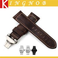 ammo - Handmade mm Ammo Genuine Assolutamente Italian Leather Watch Band Strap Dark Brown fit Butterfly buckle for Panerai