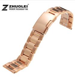Bandas de acero inoxidable enlaces en venta-18 mm 19 mm 20 mm 22 mm 23 mm de acero inoxidable reloj de pulsera correa de la venda recta End Enlaces color sólido de plata de oro rosa Negro Oro