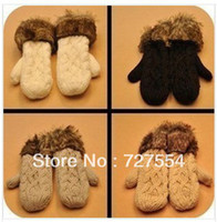 Wholesale 2015 Korea fashion lovely Winter WOMEN S FAVORITE Cable Knit Mittens thick warm fur Halter wool gloves