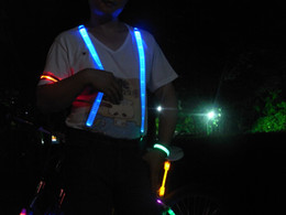 Wholesale-115 cm Adjustable Length LED Suspenders Cool Decoration for Bar Club Flashing in the Night 4 Colors LED Light Braces 44-36