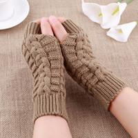 Wholesale New Fasion Unisex Men amp Women Knitted Fingerless Winter Gloves Soft Warm Mitten