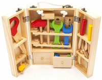Wholesale Baby Toys Kids Wooden Multifunctional Tool Set Maintenance Box Wooden Toy Baby Nut Combination Chirstmas Birthday Gift