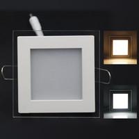 Precio de Plexiglás iluminadas-Mayor-Libre del envío 10W / 15W / 25W plexiglás llevó la Plaza panel rebajado techo de la pared Downlight AC85-265V blanco / caliente Iluminación de interior blanca