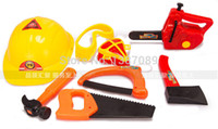 Wholesale A set of gardening tool plastic toys modeling Tools set electric saw kids hammer helmet axe mask glasses