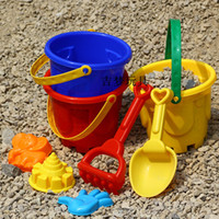 Wholesale Child Boy Model Beach - Wholesale-rand toys for children 3c Attest 7 piece bucket shovel spoon sand Beach tool toy Free shipping
