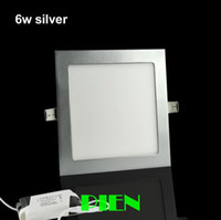 Cheap Wholesale-6W 9W 12W 15W 18W LED downlight square led ceiling panel light Silver frame warm white AC85~265V Free shipping 1pcs