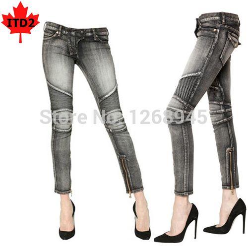 2017 Women Washed Biker Skinny Jeans Cool Girl Moto Slim Fit Denim