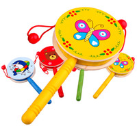 bell tnt - Baby Toys Musical Wooden Rattle Pellet Drum Cartoon Hand Bell Cute Infant Gifts More Than TNT