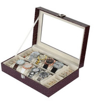 Cheap Wholesale-Leather Ring Watch Box For Hours 8 Grid Cell Boxes Watch Case Jewelry Gift Watch High Grade Russia Organizer Clocks WC007Br