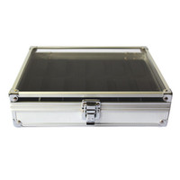 Metal aluminium storage - New Slots Grid Watches Display Storage Box Case Jewelry Aluminium Square