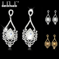 Wholesale Bridal Earrings for women Fashion platinum silver Rhinestone Crystal drop Earrings Wedding Jewelry brincos grandes