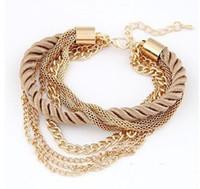 achat en gros de or gros en cuir de la chaîne-Vente en gros-bracelets de bracelets d'or nouvelle marque pour les femmes 2015 bijoux de mode bracelets de couleur en cuir de chaîne charme bijoux vintage A2108