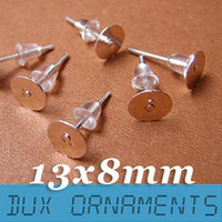 Wholesale pieces Nickel Free Surgical Steel Stud Earnuts and mm Flat Pads Silver Earring Posts with Back Stoppers Nickel free