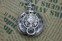 Wholesale Vine cool quartz pocket watch necklace watch with long chain Final Fantasy Advent Wolf Head Pocket Watch