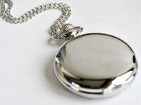 Wholesale Classical cm Size Silver Polish Quartz men Pocket Watch necklace P004