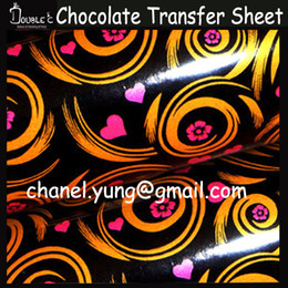 Wholesale HOT x21cm Heart Chocolate Transfer Sheet DIY Chocolate Mold Chocolate Printed Sheet Chocolate Cookie Cake Decoration