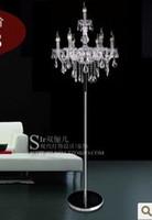Wholesale Double k9 crystal floor lamp silver floor lamp gold floor lamp wrought iron floor lamp wedding lights