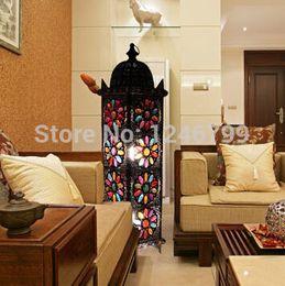 Wholesale-European Retro Floor Lamp Tiffany Handmade Floor Lamp Light Living Room Bedroom Stained Glass Floor Lamp
