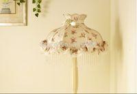 beaded floor lamps - Korean floor living room bedroom den pastoral floral beaded lace princess fabric wood floor lamp