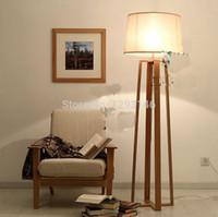 Vente en gros-Hot Cheap Country Style Le Logs Quatre stand en bois massif Et Tissu Abat Floor Lamp, stand lampe pour la maison