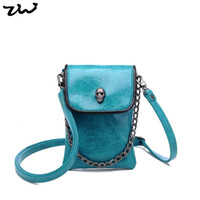 Cheap 6 Colors Mini Designer Women Handbags Fashion Skull Mobile Phone Shoulder Bags With Long Chain Z008