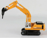 Wholesale Drilling machine model scale ABS Alloy diecast drilling truck rubber caterpillar engineer machine model toy vechicles