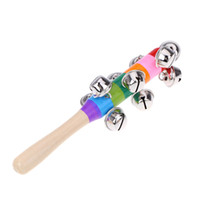 activity game for kids - Baby Metal Shaker Rattle Rainbow Toy Kid Pram Crib Handle Wooden Activity Bell Stick Musical Toy for KTV Party Kids Game