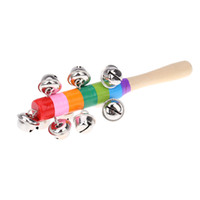 activity game for kids - Baby Rainbow Handle Wooden Activity Bell Stick Rattle Shaker Musical Toy for KTV Party Kids Game