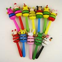 Wholesale 1 New Baby Kid Child Children Bell Toy Cartoon Animal Wooden Handbell Musical Developmental Instrumen