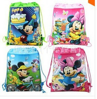 Wholesale Mickey amp Minnie Kids Cartoon Drawstring Backpack School Bags Tote Bags Non Woven Fabric Bags Kindergarten Schoolbag