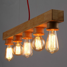 Wholesale-wooden pendant lamp restaurant coffee bar pendant lamps dining room kitchen drop light